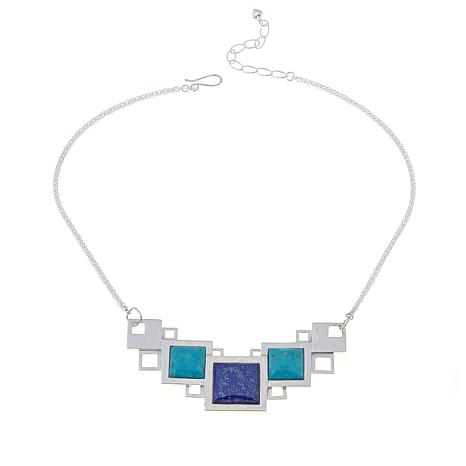 "Jay King Turquoise and Lapis Geometric 18"" Necklace"