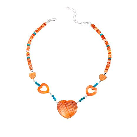 Jay King Turquoise and Orange Spiny Oyster Shell Heart Necklace