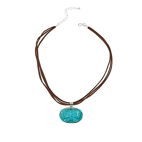 """Jay King Turquoise """"Butterfly"""" Pendant with 18"""" Brown Suede Necklace"""