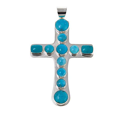 Jay King Turquoise Cross Sterling Silver Pendant