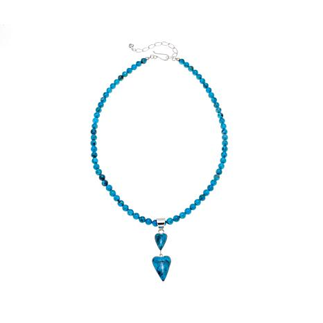 "Jay King Turquoise Hearts Pendant with 18"" Necklace"