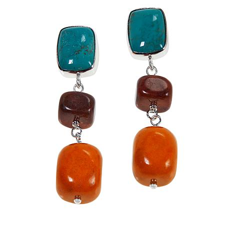 Jay King Turquoise Hill and Coral Gem Drop Earrings