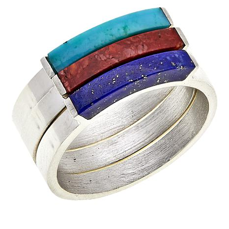 Jay King Turquoise, Lapis and Spiny Oyster Shell Stackable Ring Set