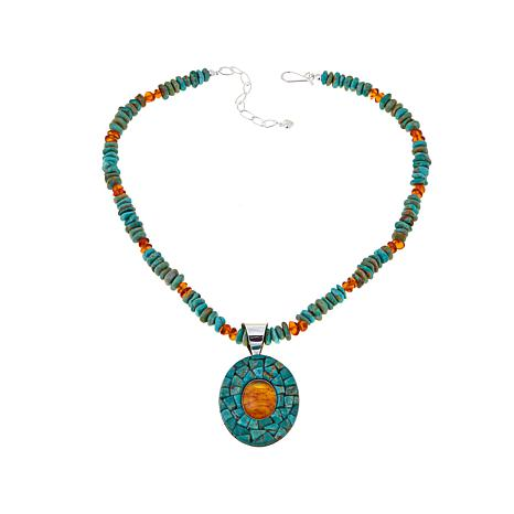 Jay King Tyrone Turquoise and Amber Pendant-Necklace