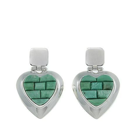 Jay King Variscite Inlay Sterling Silver Heart Earrings