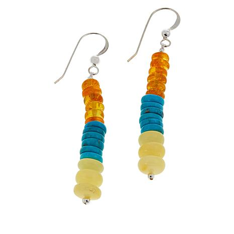 Jay King Yellow Amber and Turquoise Bead Linear Drop Earrings