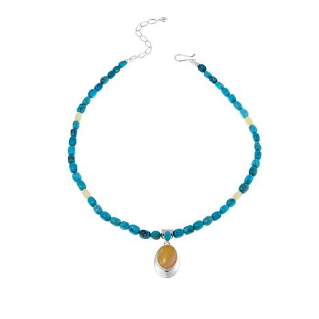 Jay King Yellow Amber and Turquoise Sterling Silver Pendant w/Necklace