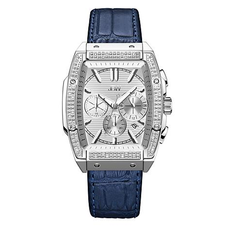 """JBW  """"Echelon"""" Men's Silvertone .28ctw Croco-Embossed Leather Watch"""