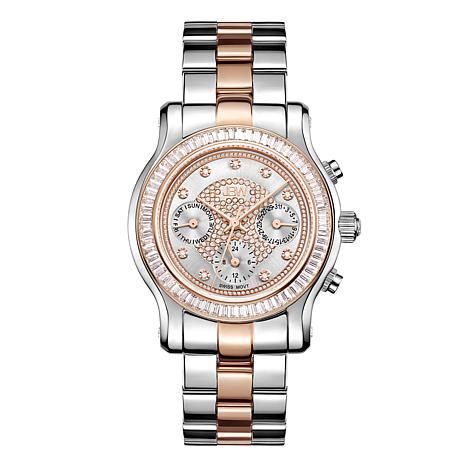 JBW Laurel Two-tone Stainless Steel Diamond and Crystal Bracelet Watch