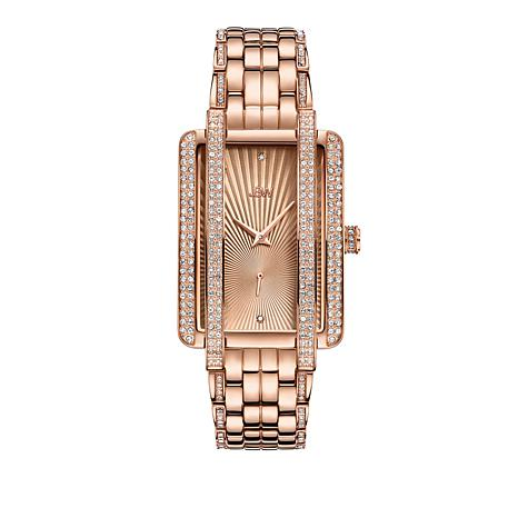 "JBW ""Mink"" 12-Diamond Rosetone Stainless Steel Bracelet Watch"