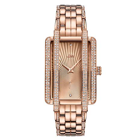 JBW Mink 18K Rose Gold-Plated Diamond and Crystal Bracelet Watch