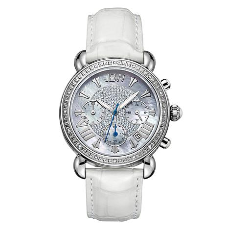 "JBW ""Victory"" 16-Diamond White Leather Chronograph Watch"