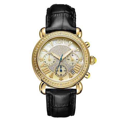 JBW Victory 18K Gold-Plated Diamond and Black Leather Strap Watch
