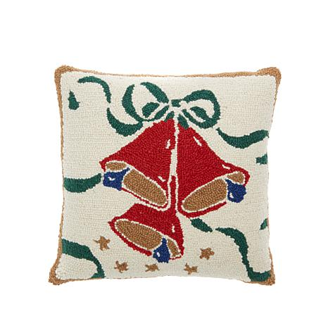 Jeffrey Banks Holiday Bells Hand-Hooked Wool Pillow