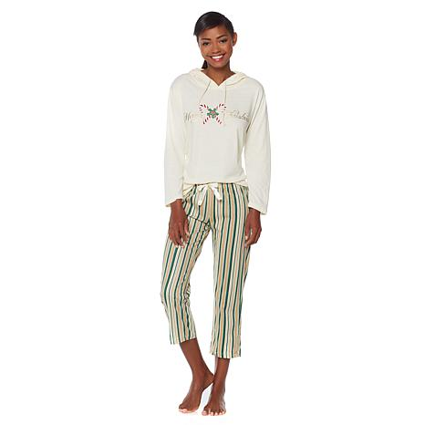 Jeffrey Banks Hoodie & Capri 2pc Holiday Pajama Set