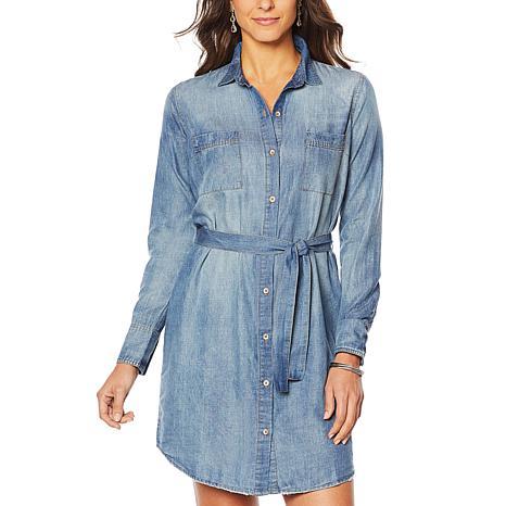 Jessica Simpson Nyra Denim Shirt Dress with Pockets