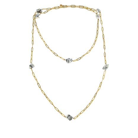 "JK NY 60"" Simulated Pearl Paperclip Chain Station Necklace"