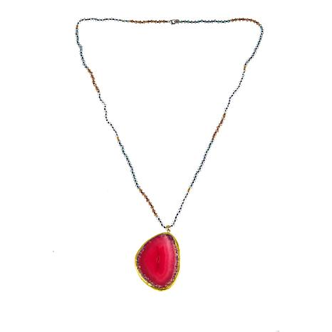 JK NY Agate Slice Polished Frame Pendant with Faceted Bead Necklace