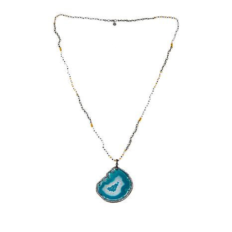 JK NY Blue Agate Slice Pendant with Faceted Bead Necklace