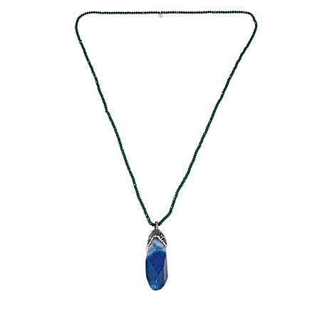 JK NY Faceted  Agate Enhancer Pendant with Necklace