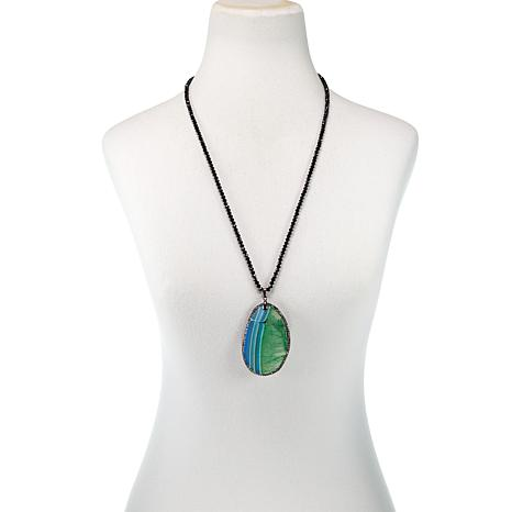 JK NY Green Agate Slice Pendant with Faceted Bead Necklace