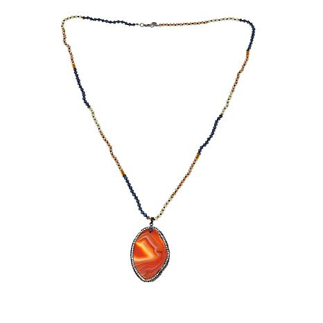 JK NY Honey-Orange Agate Slice Pendant with Faceted Bead Necklace