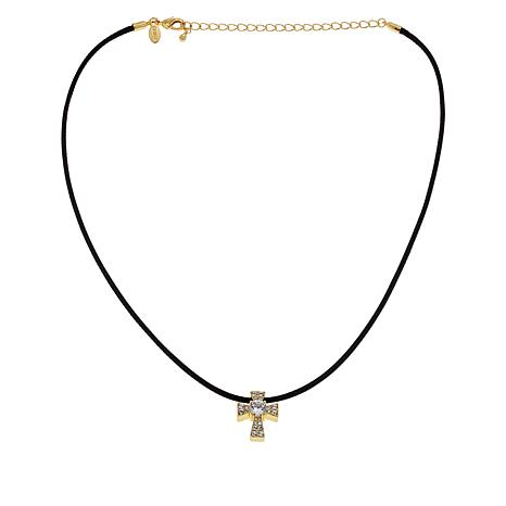 Joan Boyce Cubic Zirconia and Crystal Cross Cord Necklace