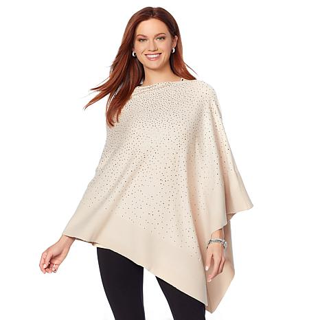 Joan Boyce Embellished Sweater Poncho