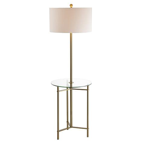 "JONATHAN Y Brass Charles 59"" Metal Glass LED Side Table and Floor Lamp"