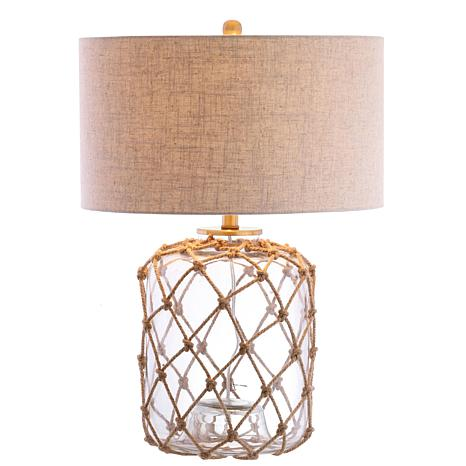 "JONATHAN Y Brown and Clear Mer 26.5"" Glass and Rope LED Table Lamp"
