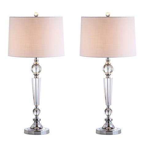 """JONATHAN Y Clear Emma 29.5"""" Crystal LED Set of 2 Table Lamp"""