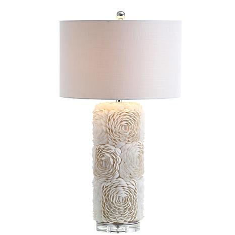 "JONATHAN Y Cream Rosette 28.5"" Seashell Resin Crystal LED Table Lamp"