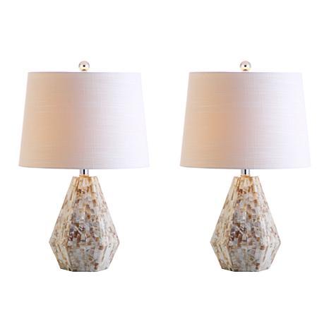 """JONATHAN Y Natural Ivory Isabella 21"""" Seashell Set of 2 Table Lamps"""