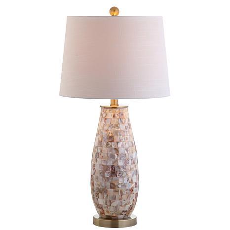 """JONATHAN Y Natural Jocelyn 28"""" Seashell LED Table Lamp"""