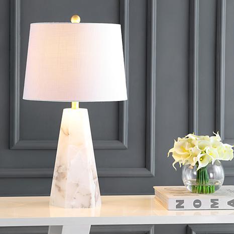 "JONATHAN Y White Xio 25.5"" Alabaster LED Table Lamp"
