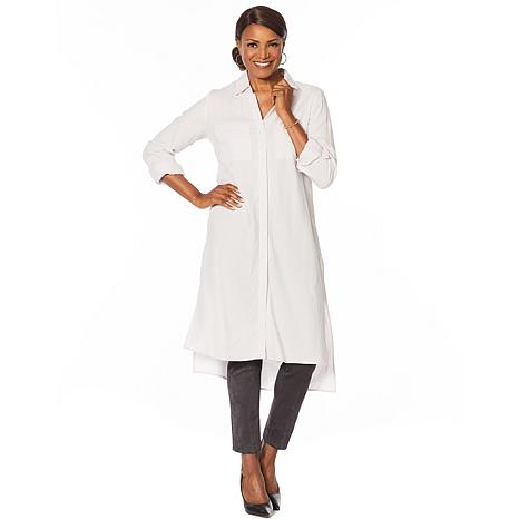 Jones NY Linen-Blend Button-Down Tunic - Missy