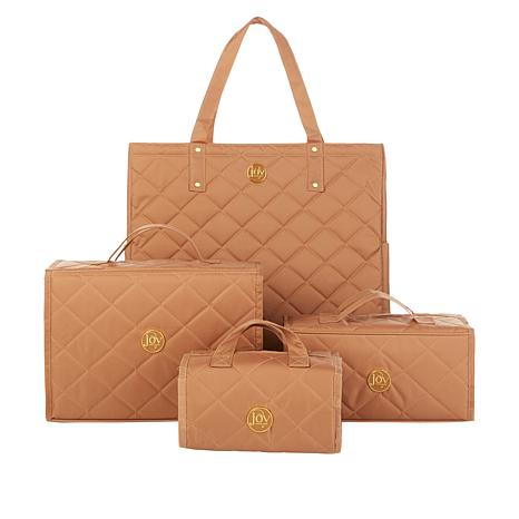 JOY 4-piece Quilted Better Beauty Case Set w/RFID Big Shopper Tote