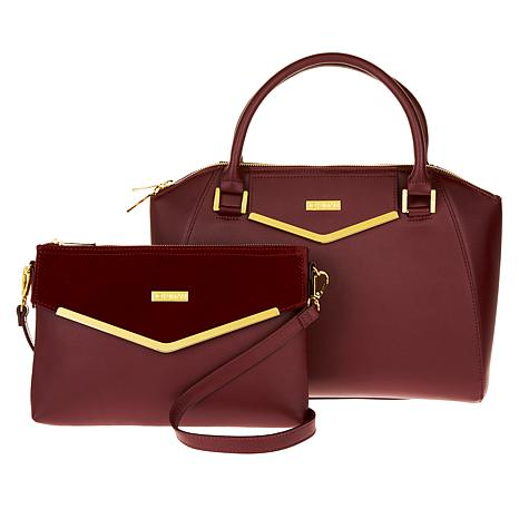 ee920d3eb293 JOY   IMAN Couture Leather Satchel   Clutch with Velvet Detail - 8822740