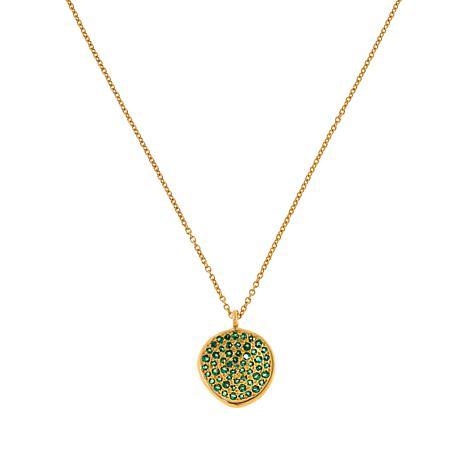 """Joya 16"""" Goldtone Sterling Silver Gemstone Pavé Pendant Necklace"""
