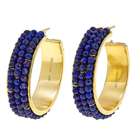 Joya Faceted Lapis Bead Goldtone Hoop Earrings