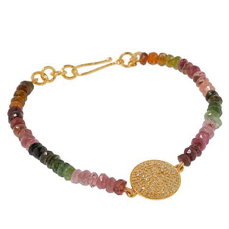 Joya Goldtone Diamond and Gemstone Bead Bracelet