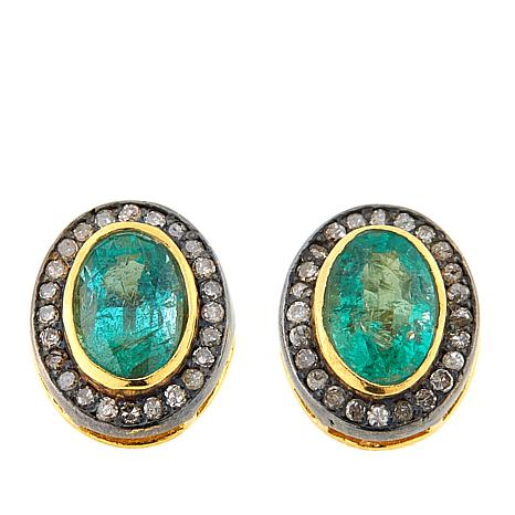 Joya Goldtone Sterling Silver 1.91ctw Emerald and Diamond Earrings