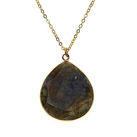 Joya Goldtone Sterling Silver Gemstone Pear-Shaped Pendent Necklace