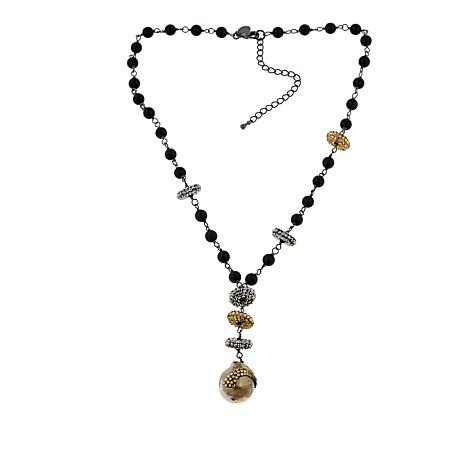 Joyce Williams Black Agate and Cultured Freshwater Pearl Drop Necklace