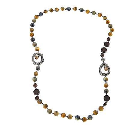 "Joyce Williams Tiger's Eye 40"" Beaded Necklace"
