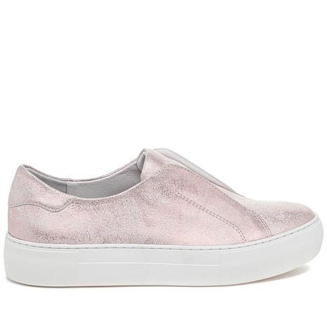J/Slides NYC Alara Metallic Suede Laceless Slip-On Sneaker