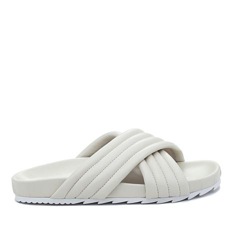 J/Slides NYC Easy Quilted Leather X-Band Slide Sandal