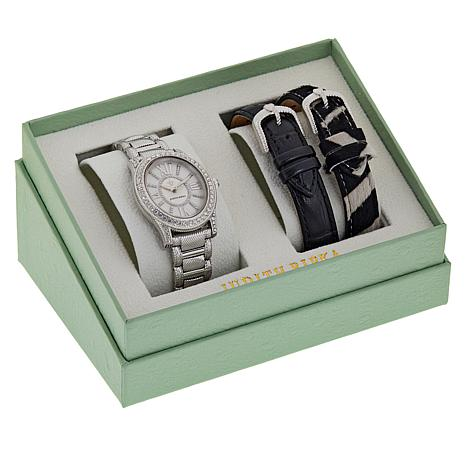 Judith Ripka 3-in-1 Bracelet Watch with Interchangeable Leather Straps