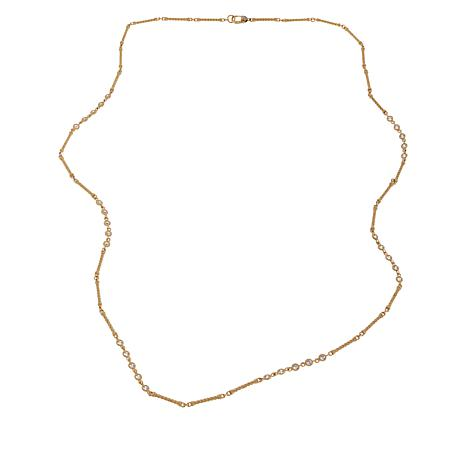 """Judith Ripka 34"""" Sterling Silver Diamonique® Station Chain Necklace"""