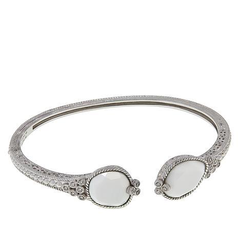 1c670dad60c0f Judith Ripka Gemstone and Diamonique® Hinged Cuff Bracelet